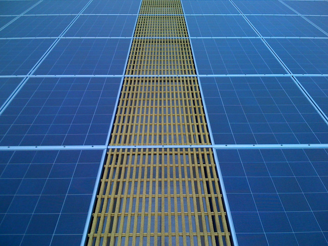Fiberglass Reinforced Plastic Pultruded Grating Slip Resistant Roof Walkways Yellow Architectural and Commercial