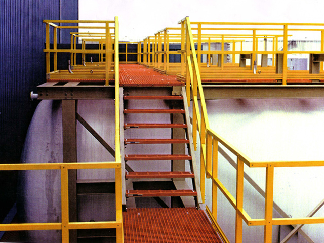 F R P Molded Grating and Pultruded Railing in Chemical Plant in Chemical Plant