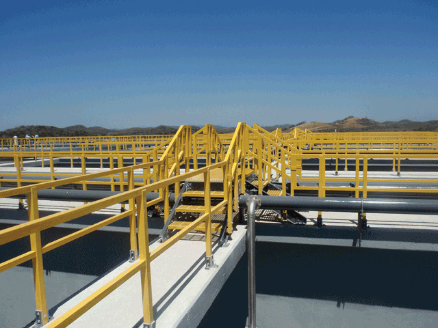 GRP Yellow Railing at Wastewater Treatment Facility